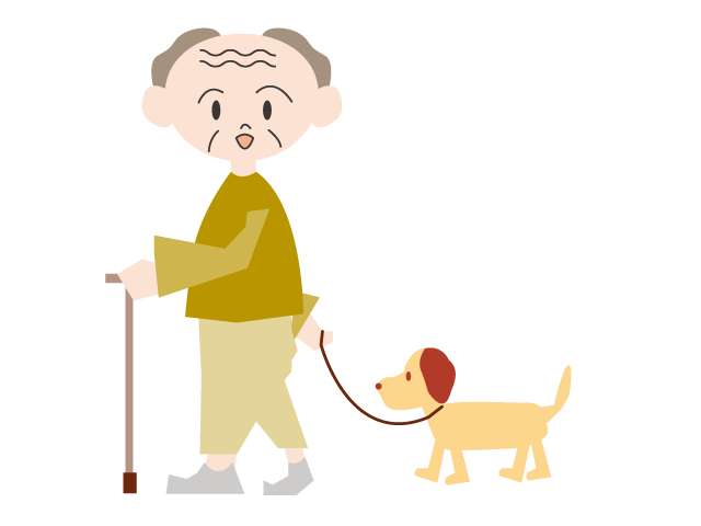 Dog walking clipart free freeuse Dog walking | Grandpa | Using a cane | Male | Free Illustration ... freeuse