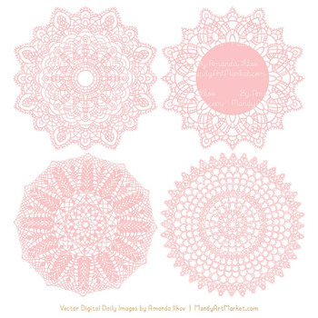 Clipart doilies vector freeuse download Anna Lace Soft Pink Doily Vectors - Doily Clipart Images, Digital Doilies vector freeuse download