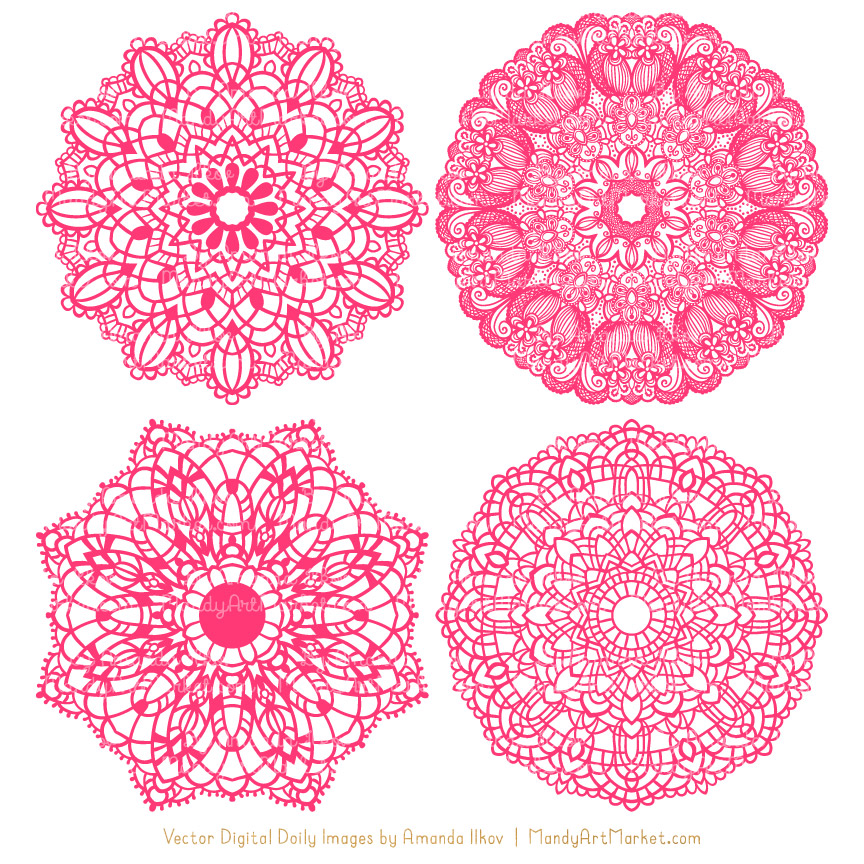 Clipart doilies image freeuse library Hot Pink Round Lace Doily Vectors image freeuse library