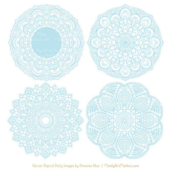 Clipart doilies vector freeuse library Anna Lace Soft Blue Doily Vectors - Doily Clipart Images, Digital Doilies vector freeuse library