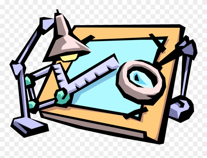 Clipart drafting clip freeuse download Vector Illustration Of Drafting Table Used By Draftsman - Technical ... clip freeuse download
