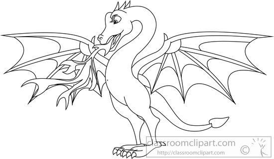 Clipart dragon outline png black and white download Dragon-black-white-outline-clipart-71514.jpg - 321*550 - Free ... png black and white download