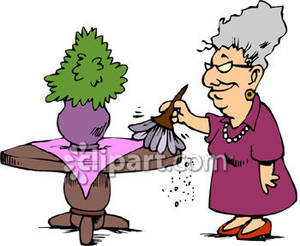 Clipart dusting picture library Old Woman Dusting a Table - Royalty Free Clipart Picture picture library