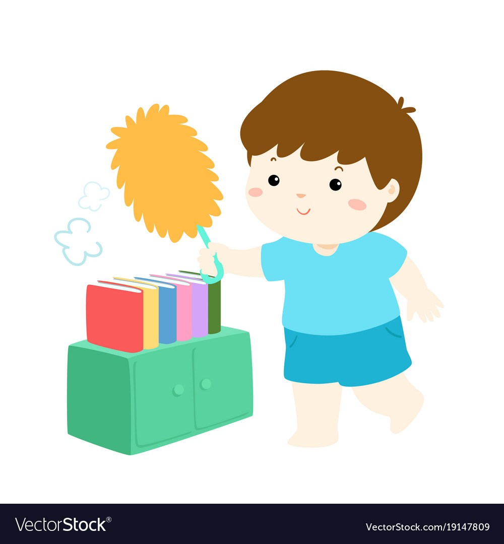 Clipart dusting clipart library Cute boy wiping the dust from bookshelf vector. » Clipart Portal clipart library
