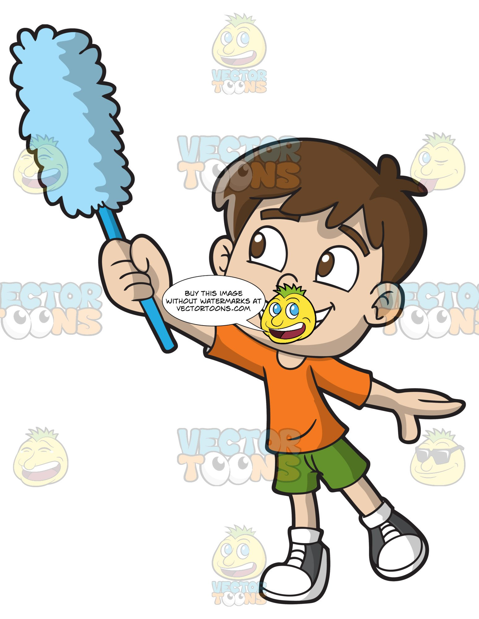 Clipart dusting royalty free A Boy Dusting The Walls royalty free