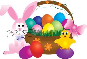 Clipart easter basket svg Easter Basket Clipart Image - Clipart Illustration of a Bunny and ... svg