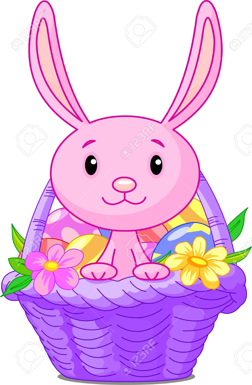 Clipart easter basket bunny clipart library download Beautiful Easter Basket With Bunny And Eggs Royalty Free Cliparts ... clipart library download