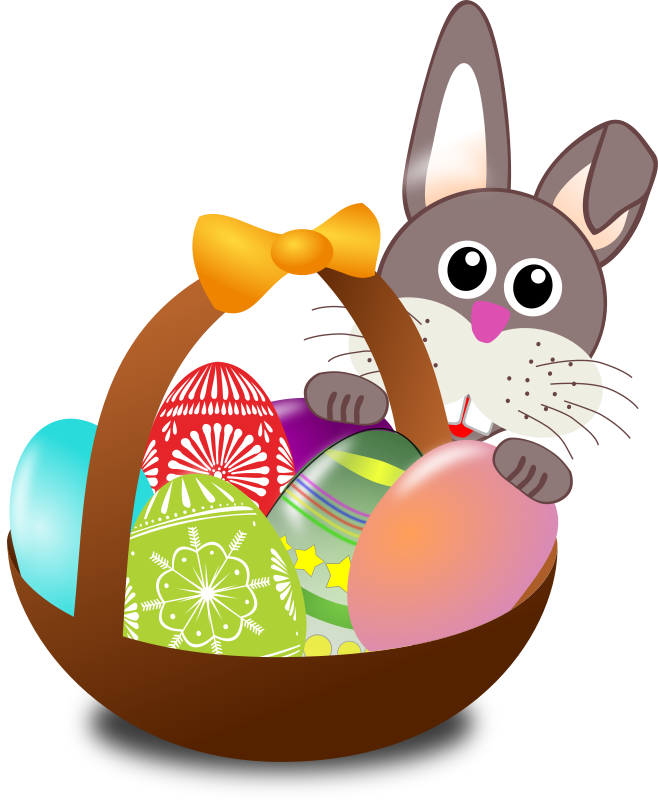Egg hunt clipart free graphic royalty free stock Easter Bunny And Basket Clipart - Clipart Kid graphic royalty free stock