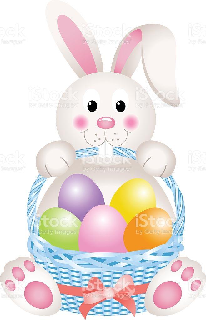 Clipart easter basket bunny jpg freeuse library Bunny Holding Eggs Easter Basket stock vector art 506215480 | iStock jpg freeuse library