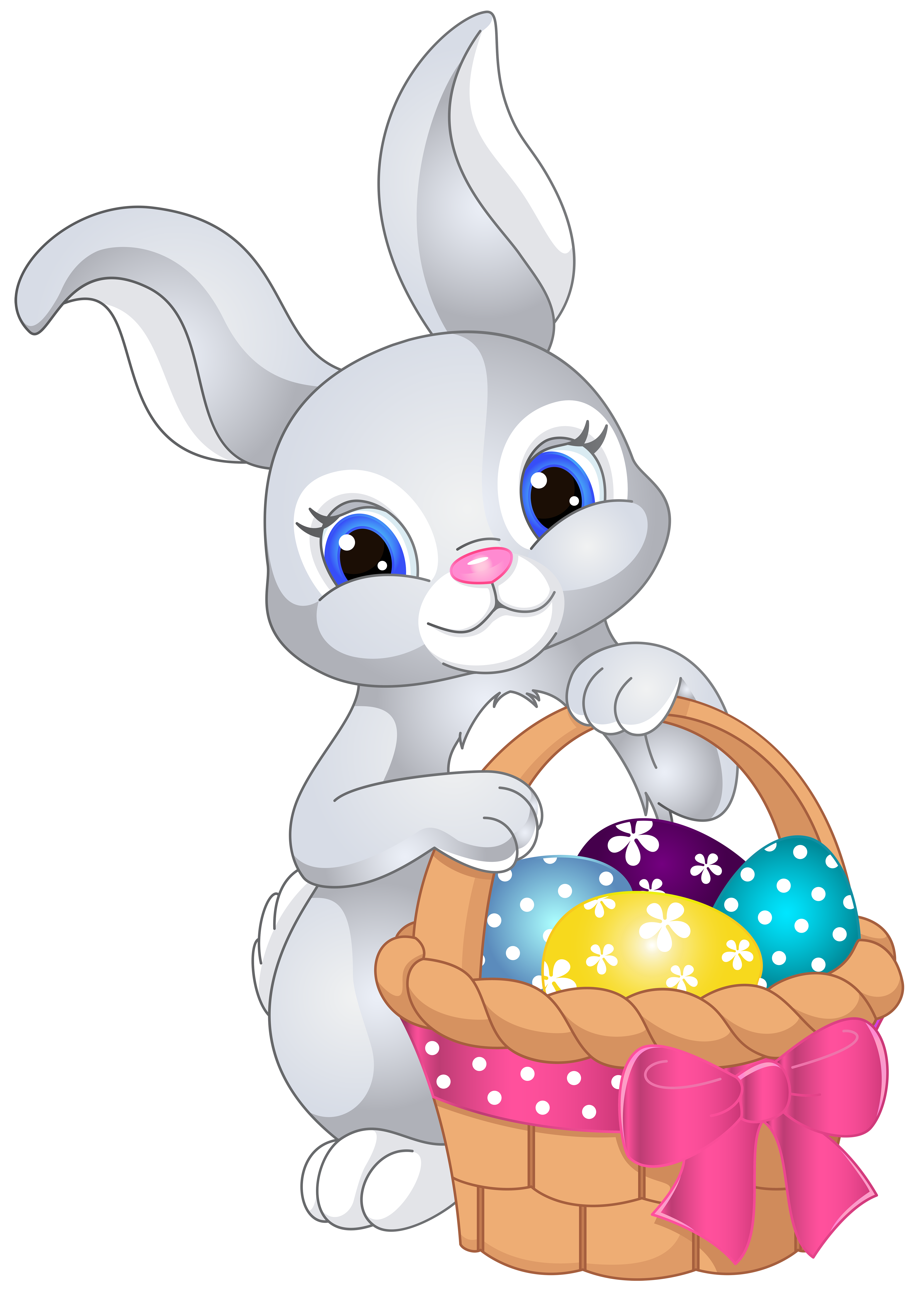 Easter Bunny with Egg Basket PNG Clip Art Image clipart freeuse stock