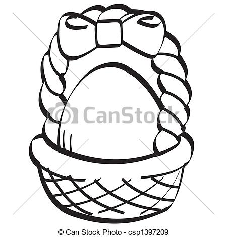 Clipart easter egg basket black and white transparent stock EPS Vectors of Easter egg basket line art in black and white ... transparent stock
