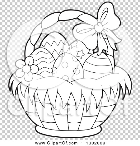 Clipart easter egg basket black and white clipart freeuse library Clipart of a Black and White Lineart Basket of Easter Eggs ... clipart freeuse library