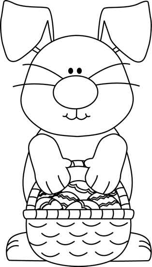 Clipart easter egg basket black and white clipart free Easter Bunny Clip Art - Easter Bunny Images clipart free