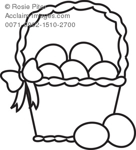 Clipart easter egg basket black and white image transparent stock Coloring Page of a Basket of Easter Eggs Royalty-Free Clip Art Picture image transparent stock