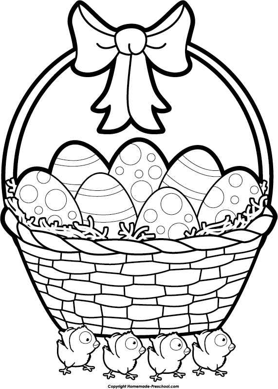 Clipart easter egg basket black and white clipart freeuse stock Easter egg basket black and white clipart - ClipartFest clipart freeuse stock