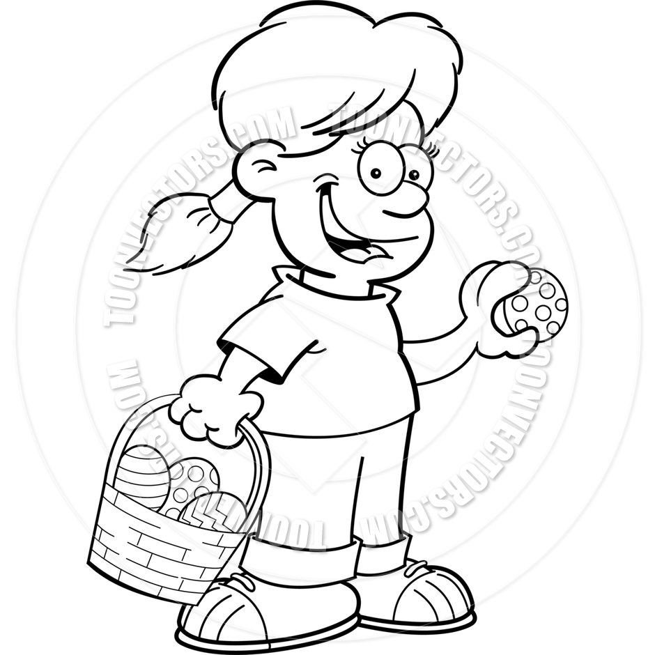 Cartoon girl on an. Clipart easter egg hunt black and white