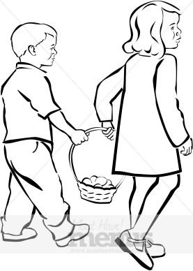 Clipart easter egg hunt black and white clipart Kids Egg Hunt Clipart | Holiday Clipart Archive clipart
