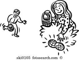 Clip art stock illustrations. Clipart easter egg hunt black and white