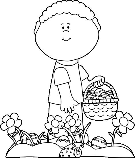 Little boy on an. Clipart easter egg hunt black and white