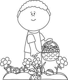 Clipart easter egg hunt black and white. Clipartfest eggs little boy