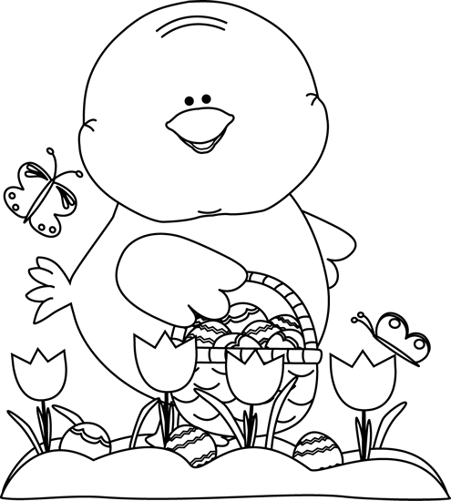 Chick on an clip. Clipart easter egg hunt black and white