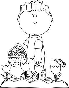 Clipart easter egg hunt black and white. Boy on clip art