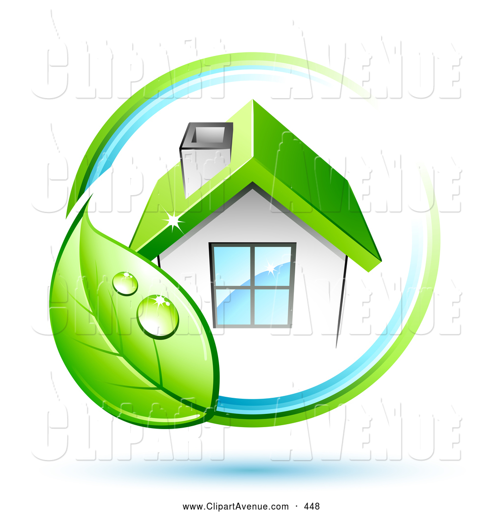 Clipart eco house png black and white library Avenue Clipart of a Green Leaf Circling an Eco Friendly White House ... png black and white library
