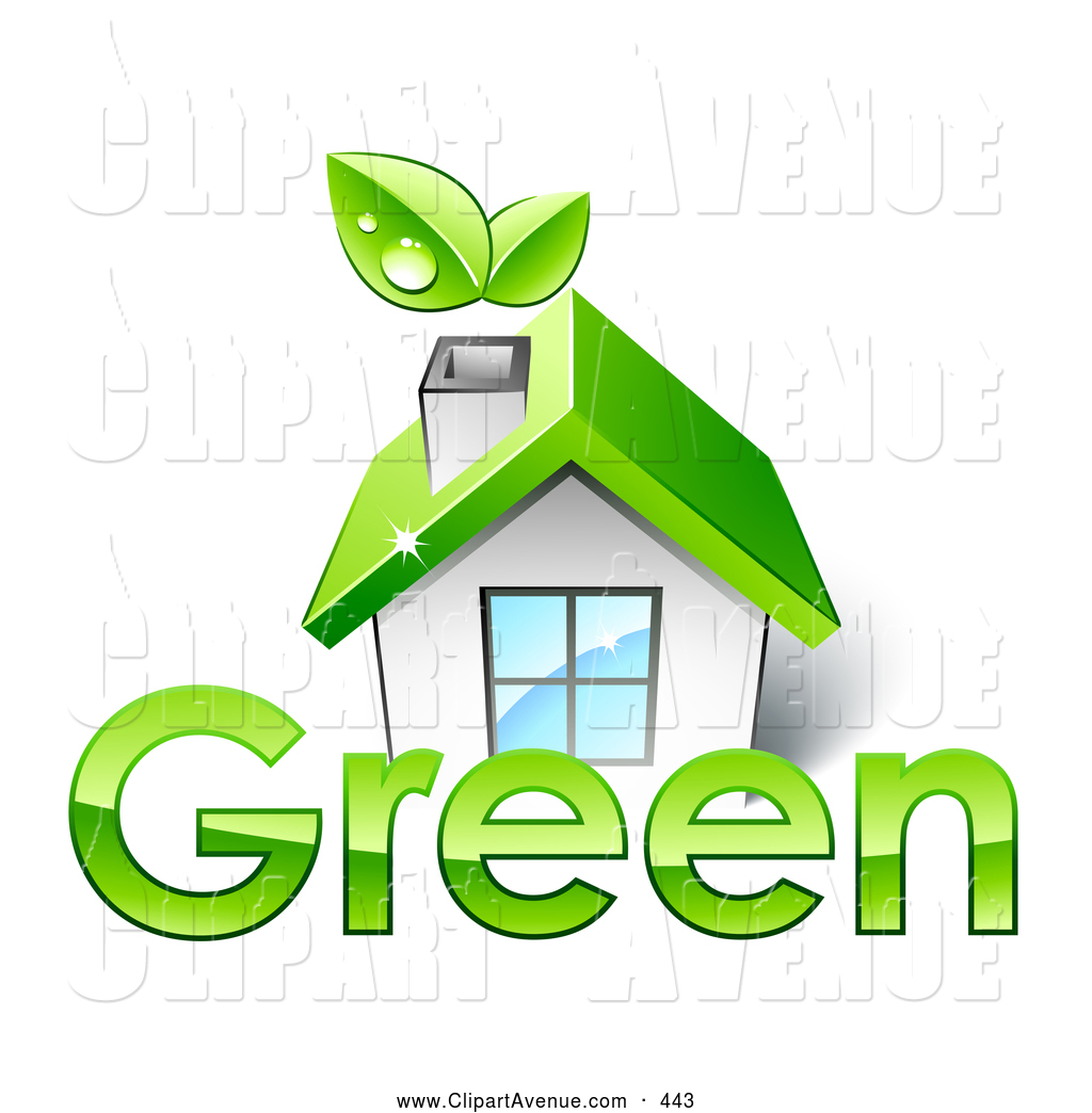 Clipart eco house image library stock Avenue Clipart of a Small White Eco Friendly House with a Green Roof ... image library stock