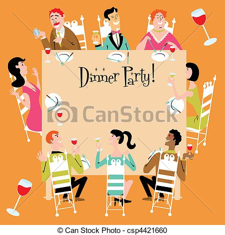 Clipart einladung png freeuse download Vektor Clipart von party, abendessen, einladung - abendessen ... png freeuse download