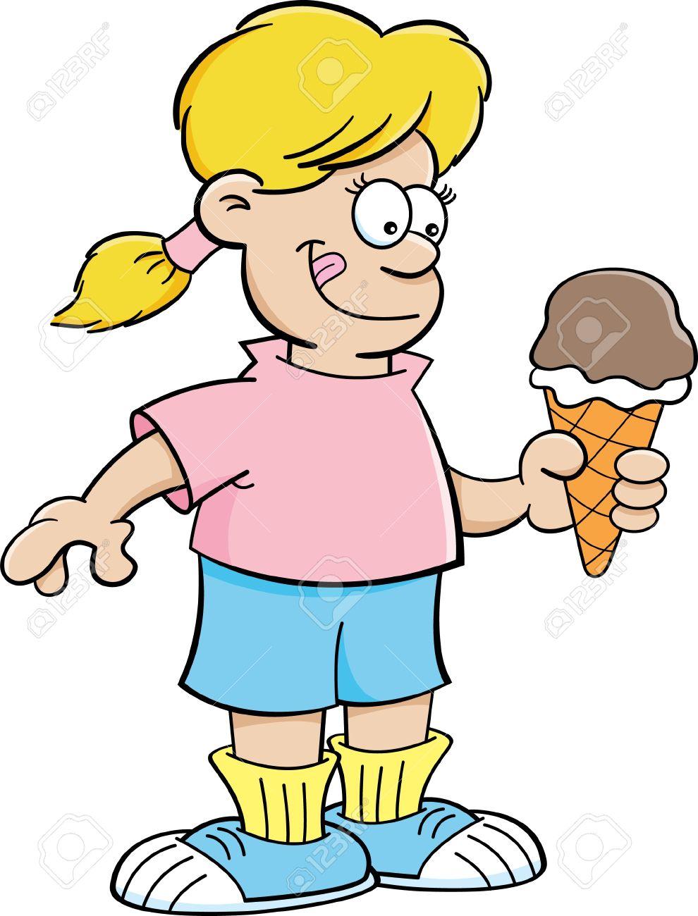 Cartoon illustration eines m. Clipart eis essen