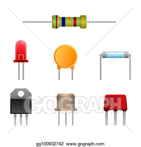 Clipart electronic components black and white library Vector Art - Diode types set, two-terminal electronic components ... black and white library