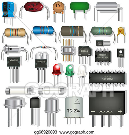 Clipart electronic components svg black and white library EPS Vector - Electronic components. Stock Clipart Illustration ... svg black and white library