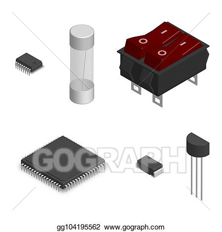 Clipart electronic components png free stock Vector Clipart - Set of different electronic components in 3d ... png free stock