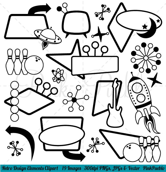 Clipart elements for design image freeuse stock Retro Design Elements Clipart/Vector image freeuse stock