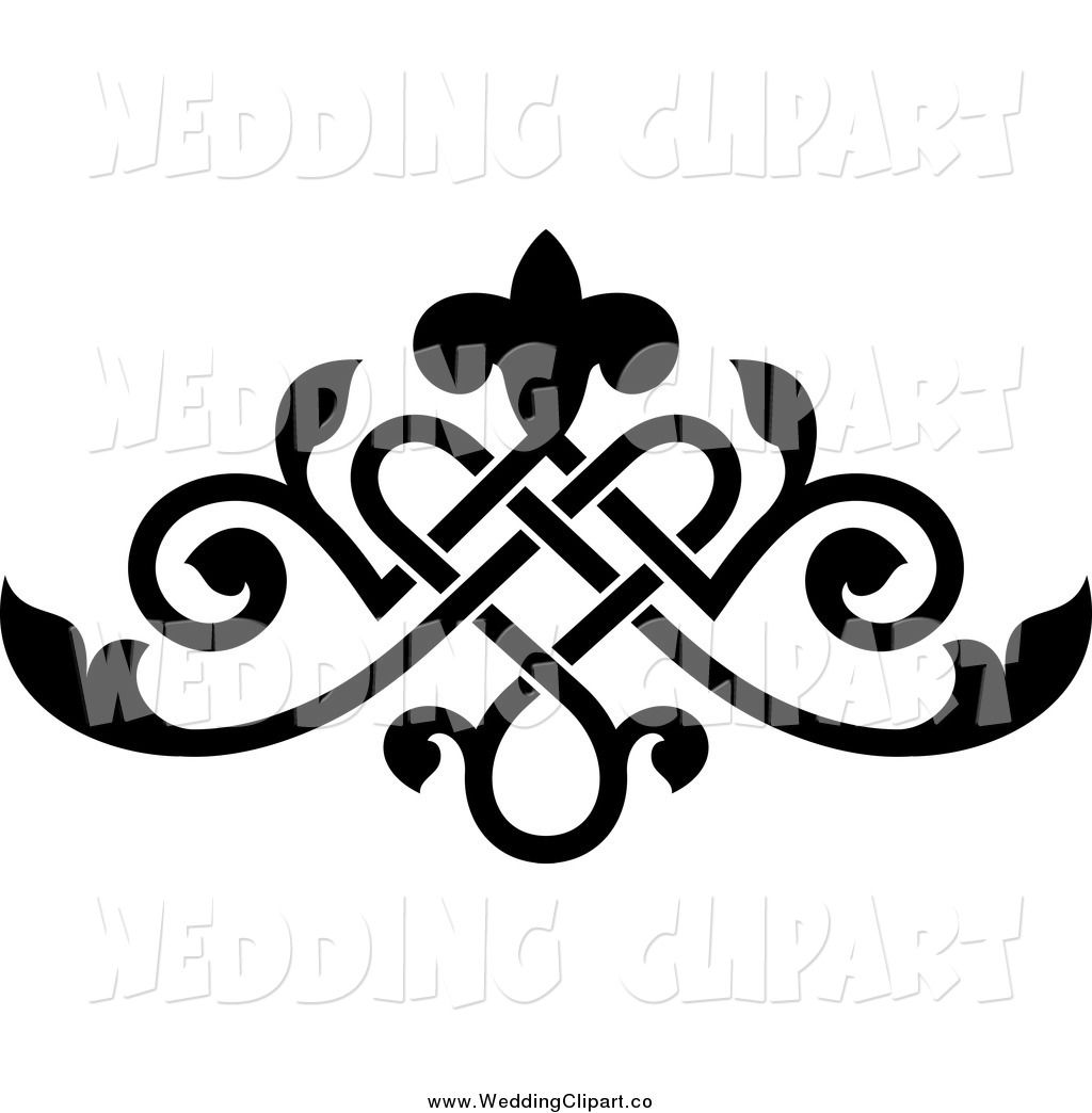 Clipart elements for design graphic free library Vector Marriage Clipart of a Black Ornate Floral Victorian Wedding ... graphic free library
