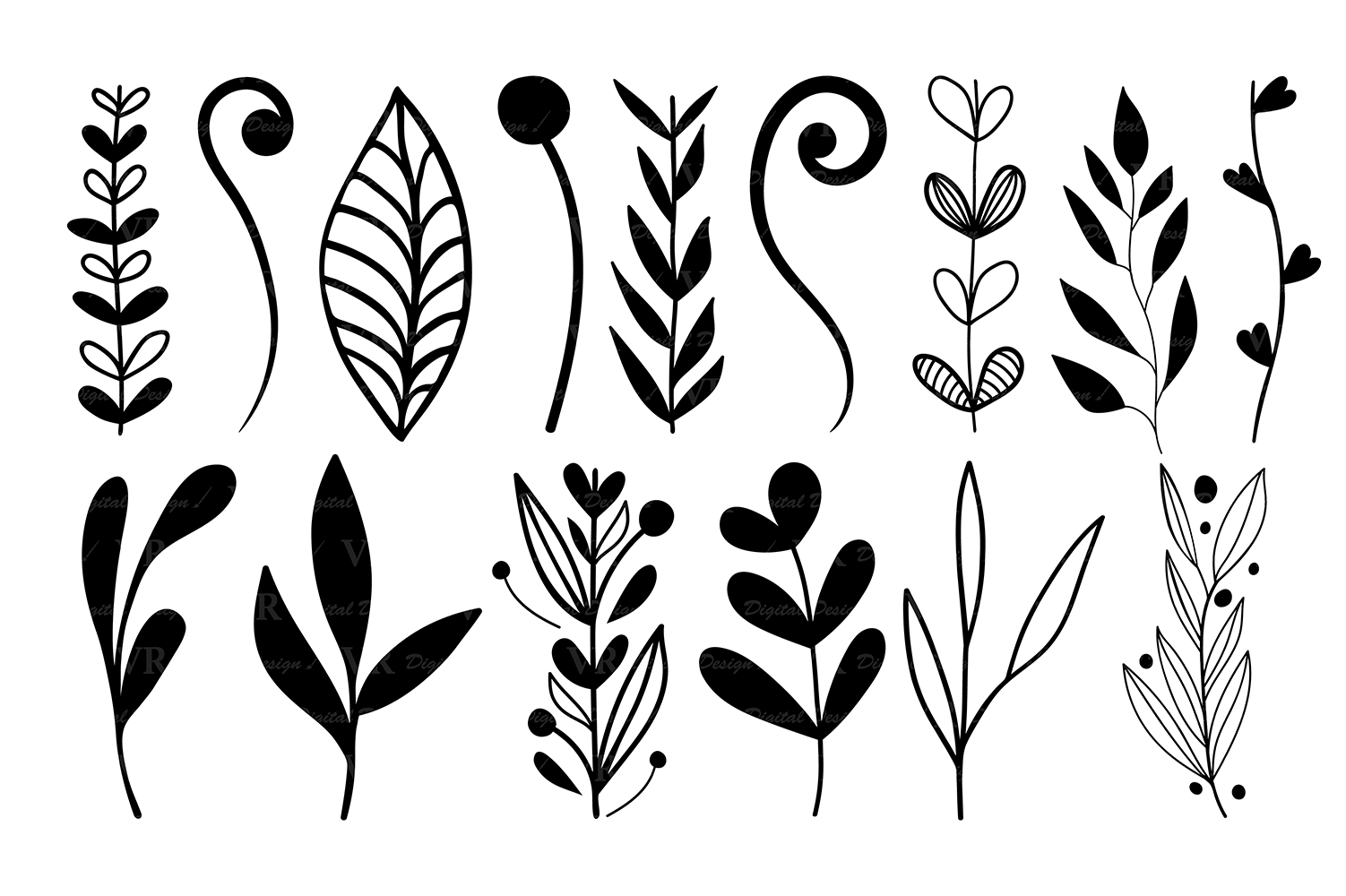 Clipart elements for design image royalty free library Wreaths Clipart, Hand drawn black design elements, Digital wreath, laurels,  leaves and branches, Wedding clipart, Vector image royalty free library