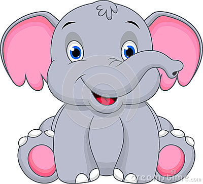 Clipart elephant with big head black and white download Cute baby elephant cartoon by Muhammad Desta Laksana, via ... black and white download