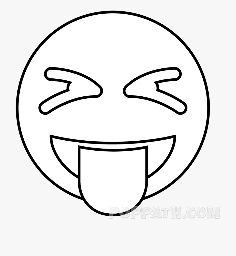 Clipart emoji silly face black and white clip download Erase The Extra Lines So That The Drawing Looks Neat - Silly Face ... clip download