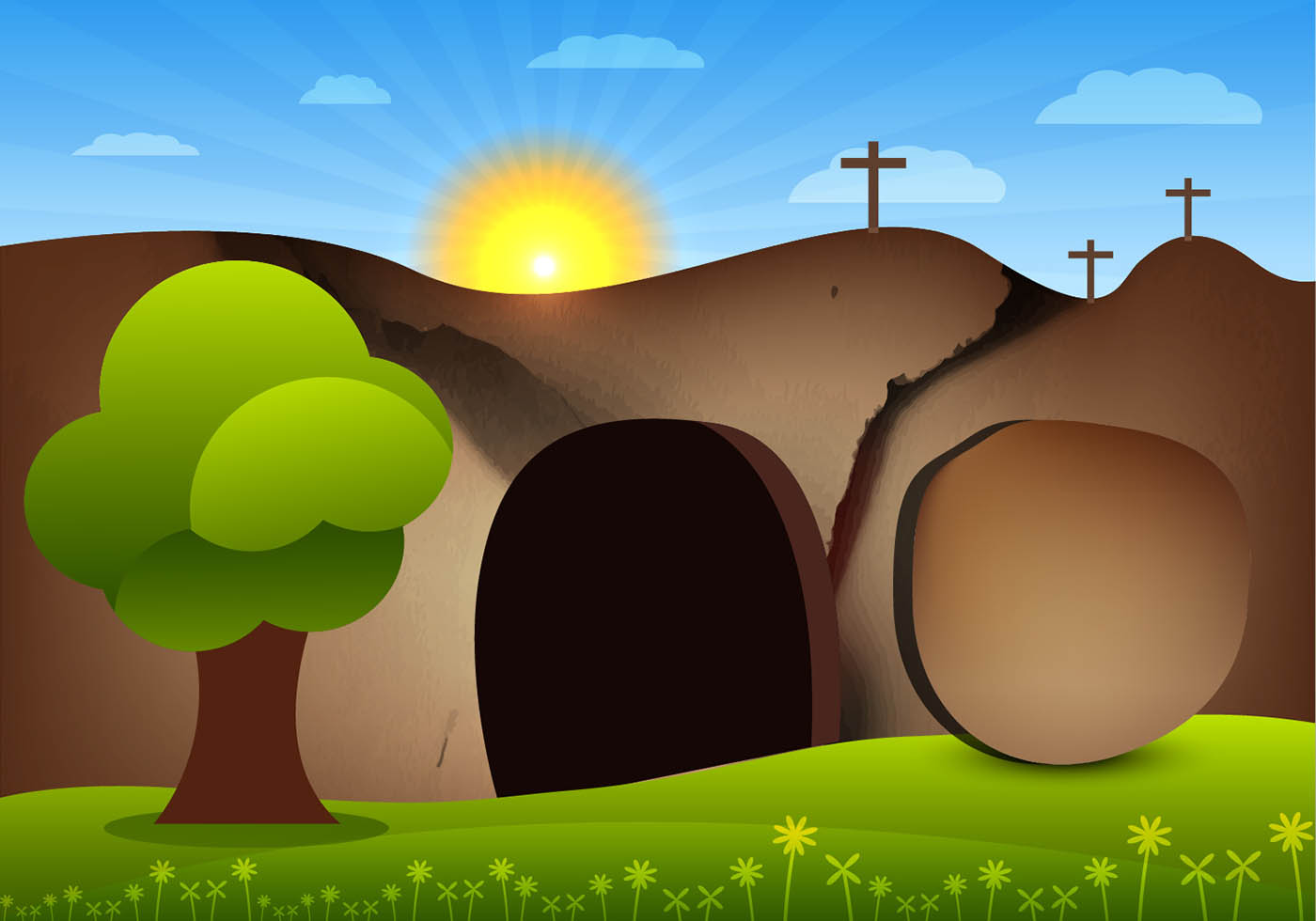 Clipart empty tomb vector royalty free library Jesus Empty Tomb Free Vector Art - (3 Free Downloads) vector royalty free library