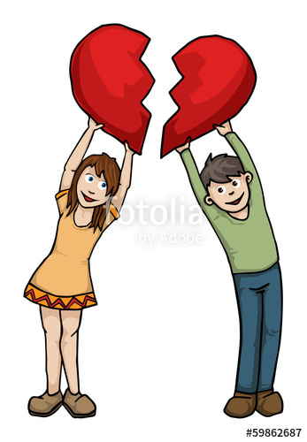 Clipart entailment jpg free girl an boy holding up half hearts that fit\
