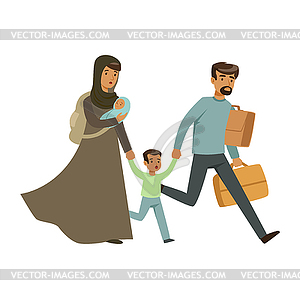 Clipart escapeing png black and white Stateless refugee family escaping of war with - vector clip art png black and white
