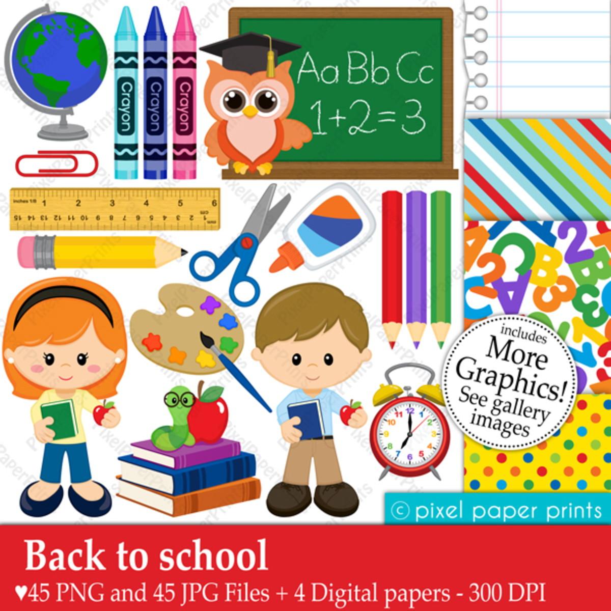 Fundo escolar clipart royalty free stock Kit Digital Volta às aulas Material escolar Clipart PP royalty free stock