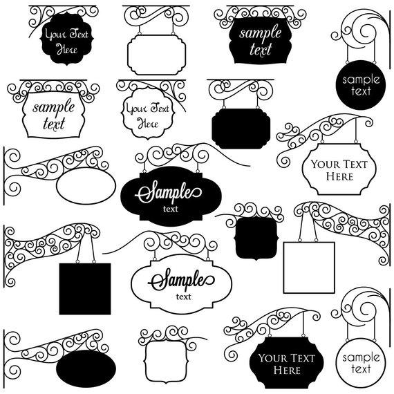 Clipart establecimientos image download Vintage Signs Clipart Clip Art, Frames Clipart Clip Art - Commercial ... image download