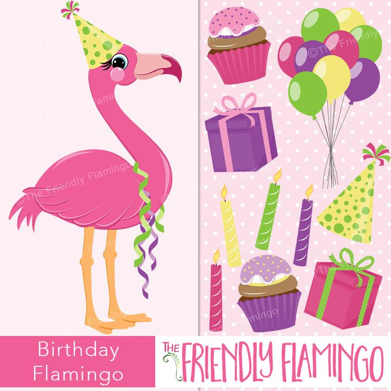 Clipart etsy picture black and white stock Birthday Pink Flamingo Clip Art Party Girl Clipart Etsy Authentic ... picture black and white stock