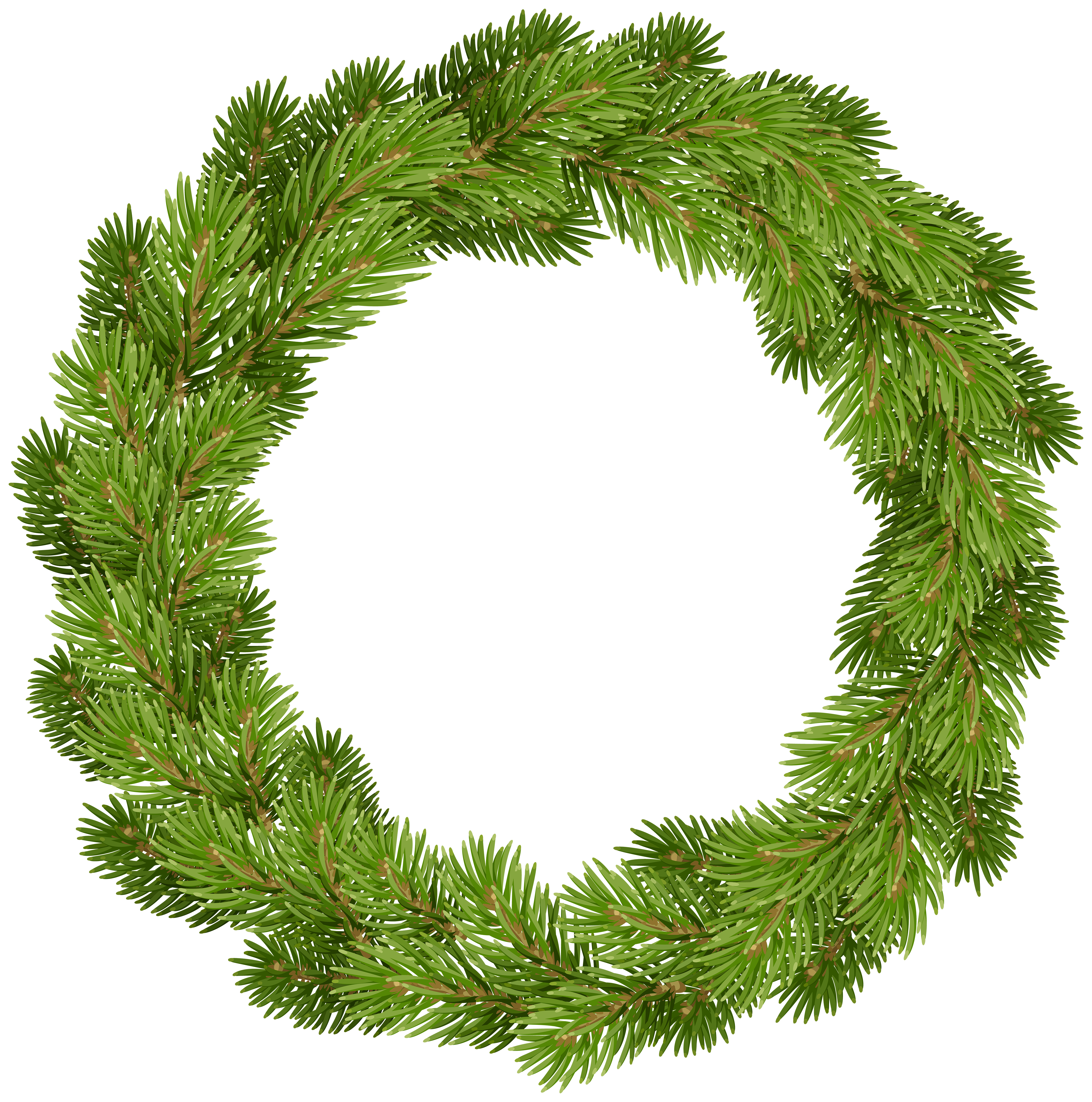 Clipart evergreenwreath picture black and white library Christmas Pine Wreath PNG Clip Art | Gallery Yopriceville - High ... picture black and white library