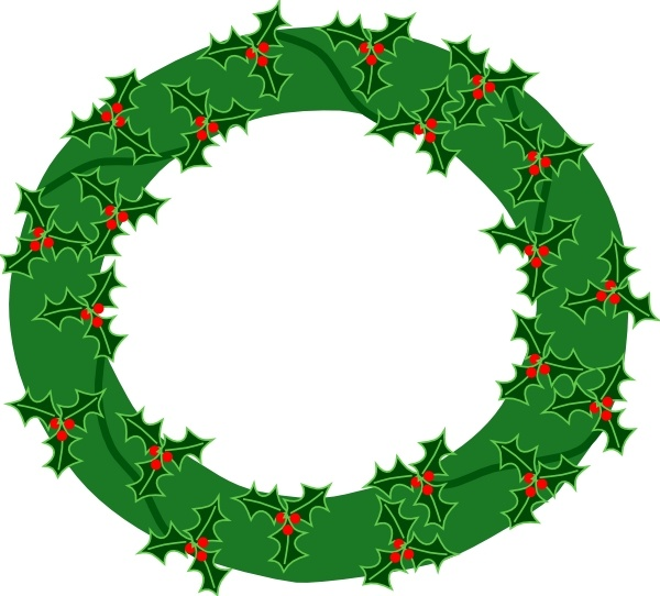 Clipart evergreenwreath graphic black and white download Evergreen Wreath With Large Holly clip art Free vector in Open ... graphic black and white download