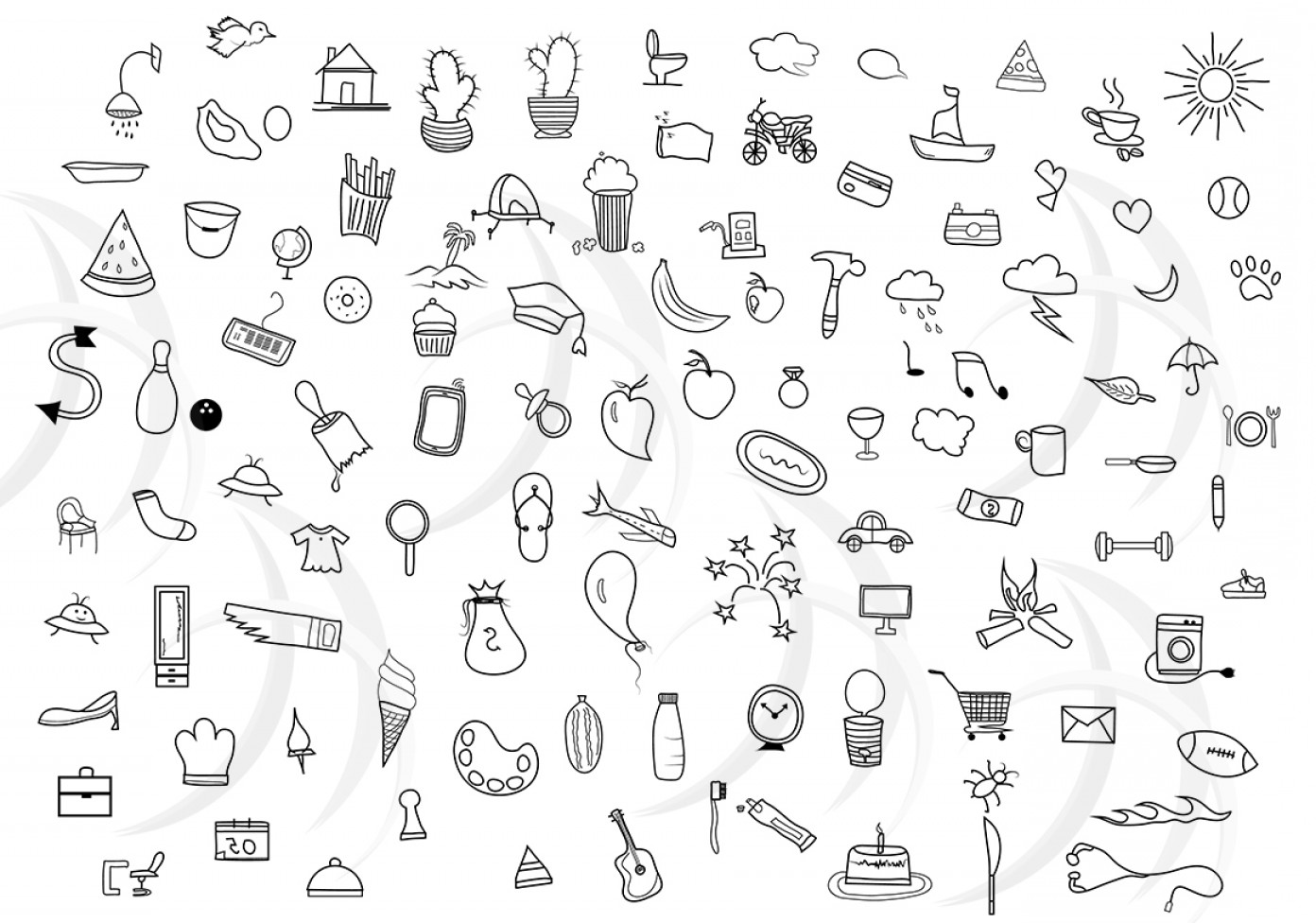 Hand drawn doodles clipart banner library Doodle Hand Drawn Vector Doodle Clipart Clip Art Bundle Everyday ... banner library