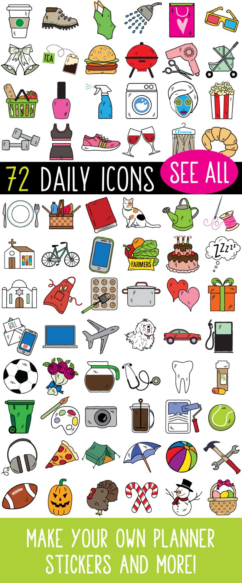 Clipart everyday jpg freeuse library MEGA Bundle Daily Planner Sticker Clipart, vector, bullet journal ... jpg freeuse library