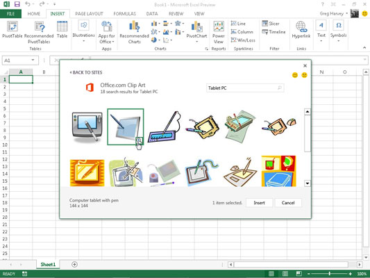 Clipart excel graphic How to Insert Clipart Images in Excel 2013 - dummies graphic