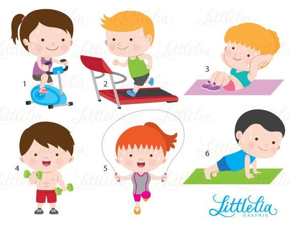 Kids playing in gym clipart vector free stock Gym clipart - exercise clipart - health clipart - 16078 | Products ... vector free stock